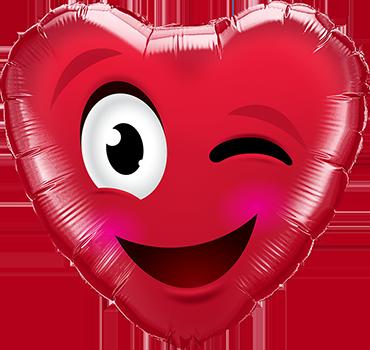 Smiley Wink Heart Foil Heart 18in/45cm