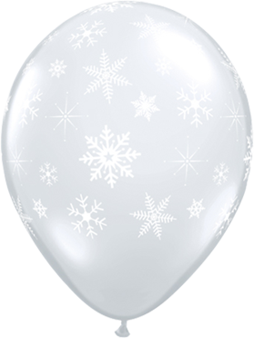 Snowflakes and Sparkles Crystal Diamond Clear (Transparent) Latex Round 11in/27.5cm
