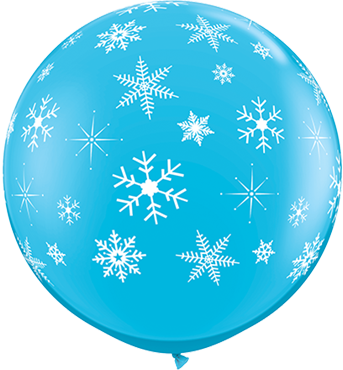 Snowflakes and Sparkles Fashion Robins Egg Blue Latex Round 36in/90cm
