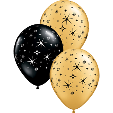 Sparkles and Swirls Metallic Gold and Fashion Onyx Black Assortment Latex Round 11in/27.5cm