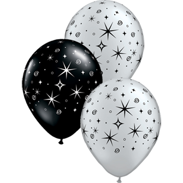 Sparkles and Swirls Metallic Silver and Fashion Onyx Black Assortment Latex Round 11in/27.5cm
