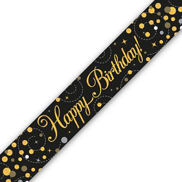 Sparkling Fizz Birthday Black and Gold Holographic Banner 2.7m