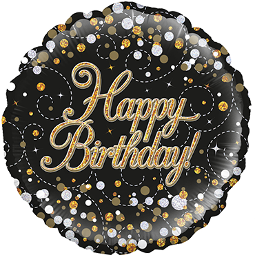 Sparkling Fizz Birthday Black and Gold Holographic Foil Round 18in/45cm