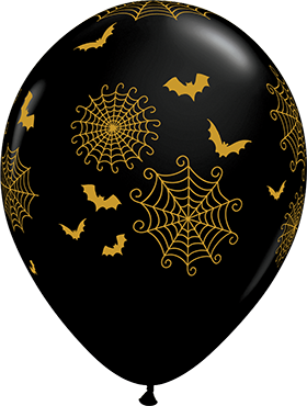 Spider Web and Bats Fashion Onyx Black Latex Round 11in/27.5cm