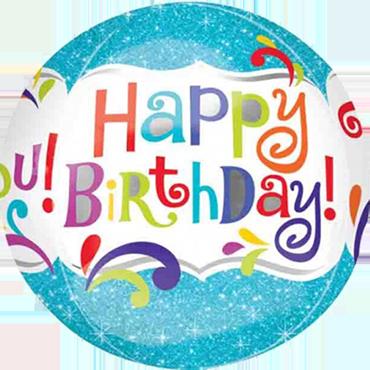 Splashy Sparkle Happy Birthday Orbz 15in/38cm x 16in/40cm