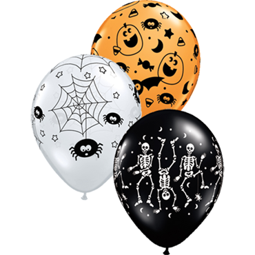 Spooky Assortment Standard Orange, Fashion Onyx Black and Crystal Diamond Clear (Transparent) Latex Round 11in/27.5cm