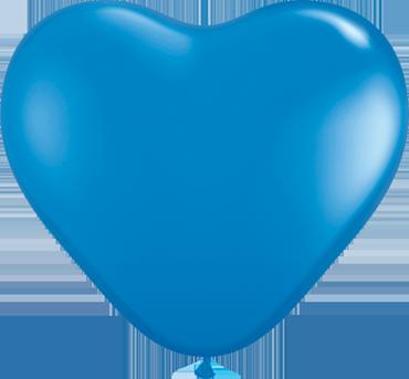 Standard Dark Blue Latex Heart 6in/15cm
