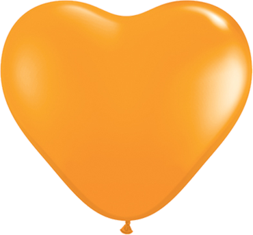 Standard Orange Latex Heart 6in/15cm