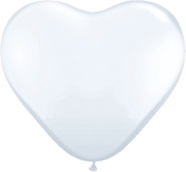 Standard White Latex Heart 15in/37.5cm