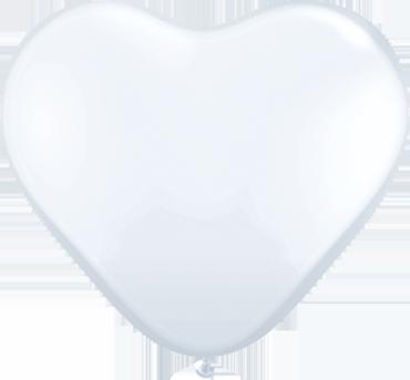 Standard White Latex Heart 6in/15cm