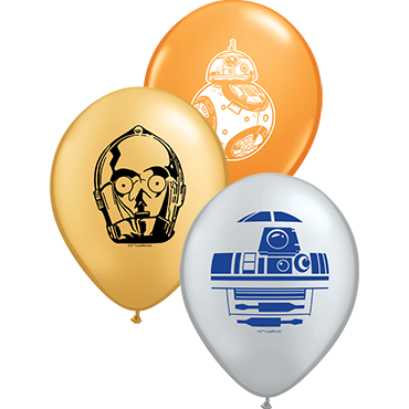 Star Wars Droids Assortment Standard Orange, Metallic Silver and Metallic Gold Latex Round 5in/12.5cm