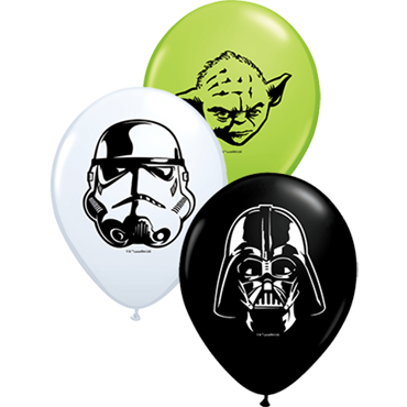Star Wars Faces Standard White, Fashion Onyx Black and Fashion Lime Green Assortment Latex Round 5in/12.5cm