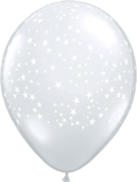Stars Crystal Diamond Clear (Transparent) Latex Round 16in/40cm