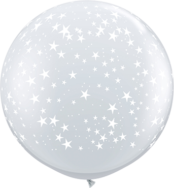 Stars Crystal Diamond Clear (Transparent) Latex Round 36in/90cm