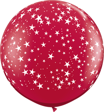 Stars Crystal Ruby Red (Transparent) Latex Round 36in/90cm