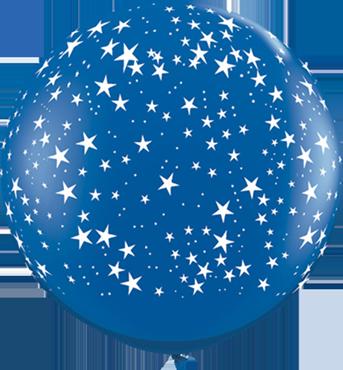 Stars Crystal Sapphire Blue (Transparent) Latex Round 36in/90cm