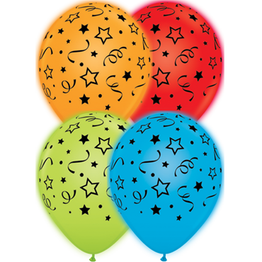 Stars, Dots and Confetti Standard Red, Standard Orange, Standard Pale Blue and Standard Green Assortment Q-Lite Latex Round 11in/27.5cm