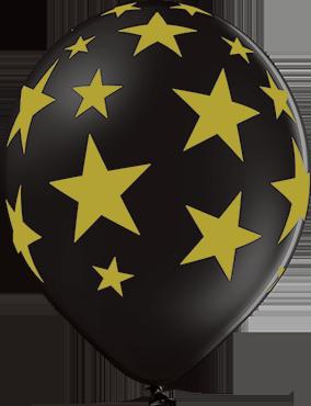 Stars Pastel Black Latex Round 12in/30cm