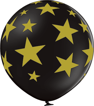 Stars Pastel Black Latex Round 24in/60cm