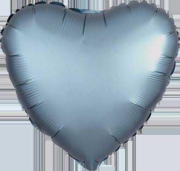 Steel Blue Satin Luxe Foil Heart 17in/43cm