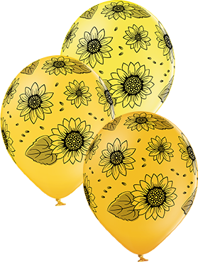 Sunflowers Pastel Yellow, Pastel Ocher and Pastel Bright Yellow Assortment Latex Round 12in/30cm