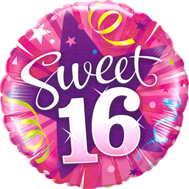 Sweet 16 Shining Star Foil Round 18in/45cm
