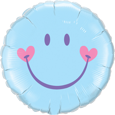 Sweet Smile Face - Pale Blue Foil Round 18in/45cm