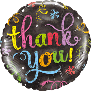 Thank You Chalkboard Foil Round 18in/45cm