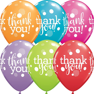 Thank You Dots Upon Dots Festive Assortment Latex Round 11in/27.5cm