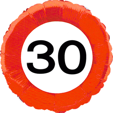 Traffic Sign 30 Foil Round 18in/45cm