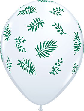 Tropical Greenery Standard White Latex Round 11in/27.5cm