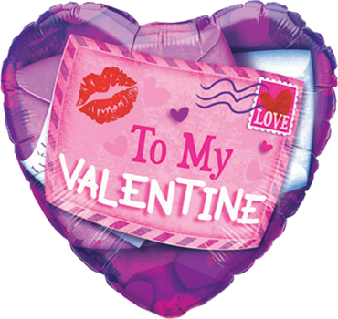 Valentine Sealed With A Kiss Foil Heart 18in/45cm