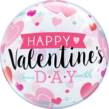 Valentine's Arrows and Hearts Single Bubble 22in/50cm