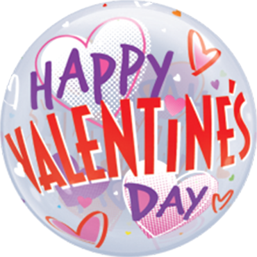 Valentines Bold Hearts Single Bubble 22in/50cm