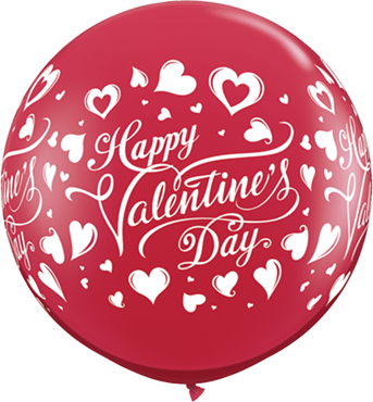 Valentine's Classic Hearts Crystal Ruby Red (Transparent) Latex Round 36in/90cm