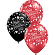 Valentine's Classic Hearts Fashion Onyx Black and Crystal Ruby Red (Transparent) Assortment Latex Round 11in/27.5cm