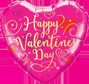 Valentines Day Gold Script Foil Heart 18in/45cm