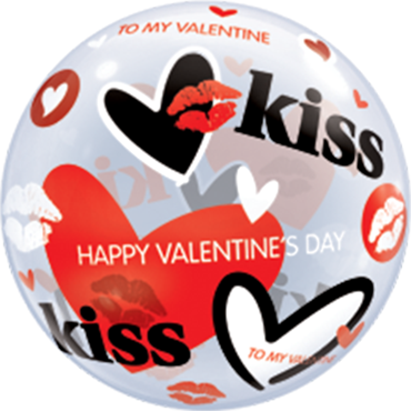 Valentines Kisses and Hearts Single Bubble 22in/50cm