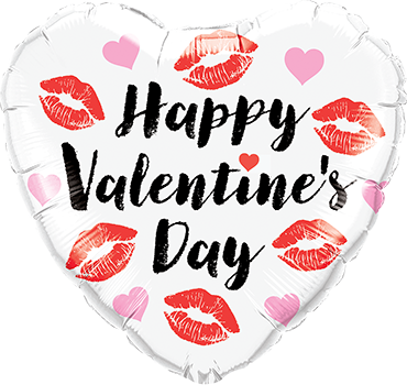 Valentines Kissey Lips Foil Heart 18in/45cm
