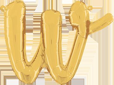 W Script Gold Foil Letter 14in/36cm