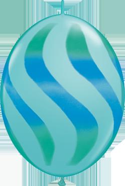 Wavy Stripes Fashion Caribbean Blue w/Blue-Green QuickLink 12in/30cm