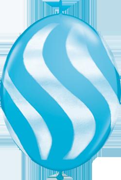 Wavy Stripes Fashion Robins Egg Blue w/White QuickLink 12in/30cm