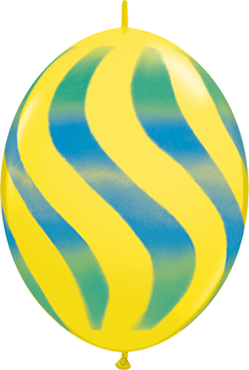 Wavy Stripes Standard Yellow w/Blue-Green QuickLink 12in/30cm