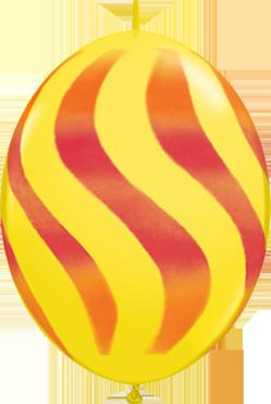 Wavy Stripes Standard Yellow w/Red-Orange QuickLink 12in/30cm