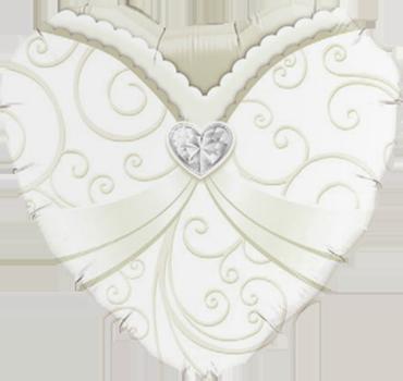 Wedding Gown Foil Heart 18in/45cm