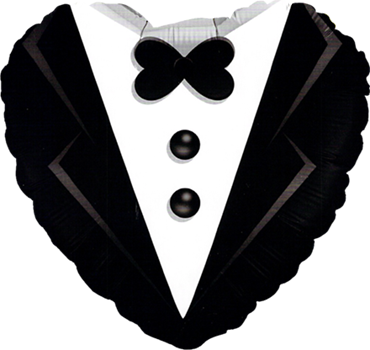 Wedding Tuxedo Foil Heart 18in/45cm