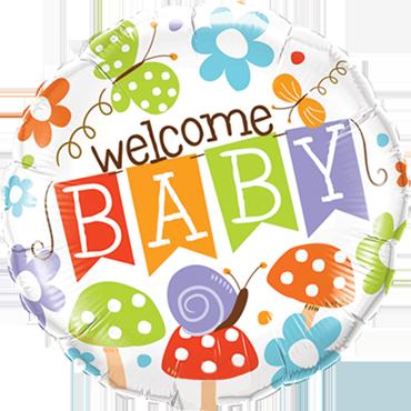 Welcome Baby Banner Garden Foil Round 18in/45cm