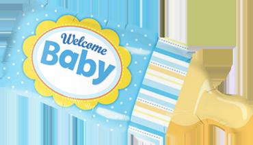 Welcome Baby Bottle Blue Foil Shape 39in/99cm
