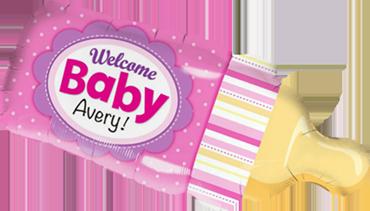 Welcome Baby Bottle Pink Foil Shape 39in/99cm