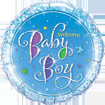 Welcome Baby Boy Stars Foil Round 9in/22.5cm